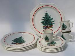 vintage sears octagon white dishes tree plates