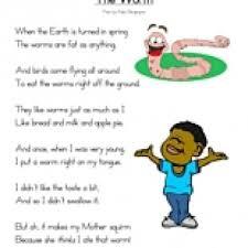 worm poem reading comprehension worksheet