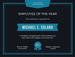 sample employee of the month certificate employee of the year award certificate templates by canva