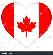 Flag With Tree And Moon Illustration Canadian Flag Heart Shape Stock Illustration