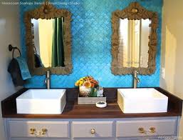 Moroccan Bathroom Vanity by Stencil Ideas For A Bathroom Wall With Metallic Paint Stenciling