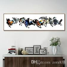 Chinese Home Decor Store Eight Handsome Horses Chinese Ink Painting Modern Art Collection