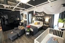 living room displays ikea bedroom displays a living room with a grey three seat sofa