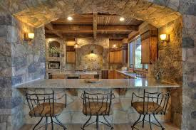 One Sided Galley Kitchen Kitchen Rustic Kitchen Blue Cathedral Ceiling One Wall Kitchen