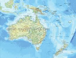 Blank Physical Map Of Russia by Physical Map Of Australia With Bali And New Zealand In Sight