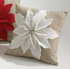Decorative Christmas Pillows Throws by White Poinsettia Felt Holiday Design Decorative Throw Pillow 17