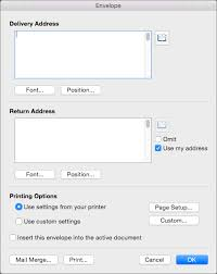 create and print a single envelope word for mac