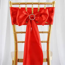 Chair Bows For Weddings 5 Pcs Red Satin Chair Sashes Tie Bows Catering Wedding Party