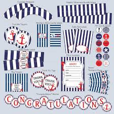 baby shower anchor theme printable diy nautical theme customized pdf party package baby