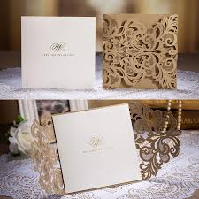 Customized Invitation Cards Free Cheap Golden Chic Flower Heart Cut Out Free Personalized