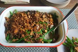 fresh green bean casserole with crispy shallot topping new