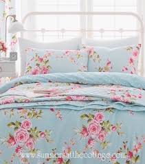 shabby beach house blue pink roses chic queen duvet cover set