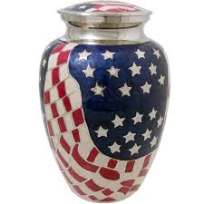 funeral urn american flag brass cremation urn