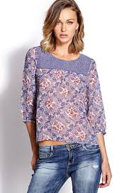 paisley blouse lyst forever 21 retro paisley blouse in blue