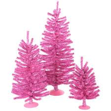 set of 3 sparkling pink artificial trees 12 18