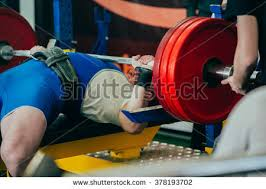 Training For Bench Press Competition Man Powerlifter Competition Powerlifting Bench Press Stock Photo