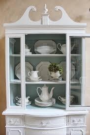 shabby chic painted white china cabinet hometalk