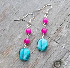easy earrings pink and teal handmade beaded earrings