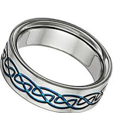 titanium celtic wedding bands blue titanium celtic wedding band ring from jewelerscraft on etsy