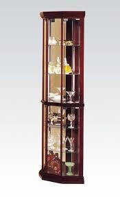 cherry wood corner cabinet cherry wood glass corner cabinet w 6 tiers by acme