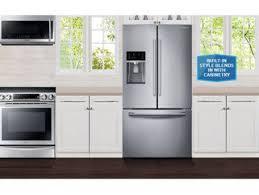 Cabinet Depth Refrigerator Reviews Shop Samsung 22 5 Cu Ft Counter Depth French Door Refrigerator