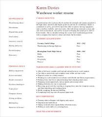 warehouse worker resume warehouse worker resume 7 free sle exle format free