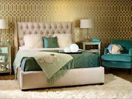 art deco master bedroom with interior wallpaper u0026 concrete floors