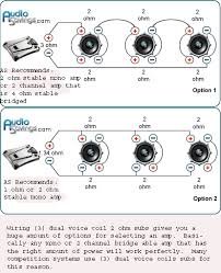 speaker wiring possibilities 2 x dvc 2ohm and 1 x dvc 4ohm