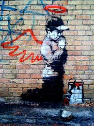 praying boy wings banksy reproduction graffiti printing