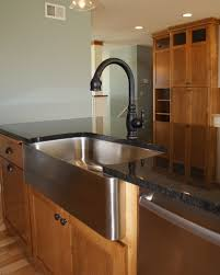 Restaurant Style Kitchen Faucet by Dark Granite On Island With Stainless Steel Farm Sink And