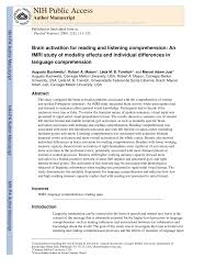 brain activation for reading and listening comprehension an fmri