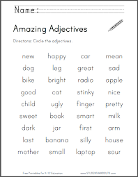 amazing adjectives worksheet free to print pdf file primary