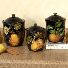 damask fruit canister set black set of three 90 canisters