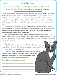 reading comprehension the kitten worksheet education com