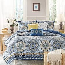 Light Blue Coverlet Madison Park Moraga Blue Medallion Print 6 Piece Microfiber