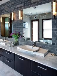 Bathroom Vanity Tile Ideas by Black Subway Tile Bathroom Towel Shelves On The Wall White Floor