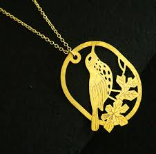 Personalized Necklaces For Her Bird With Branch Necklace Brass Metal Necklace Personalized