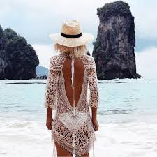 backless cover up knitted swimsuit cover up