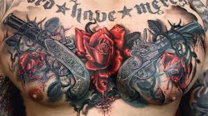 and guns 3d on chest 3d