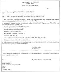 sample letter of instruction for carrying out punitive restriction