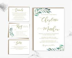 wedding invitations greenery gold calligraphy greenery editable wedding invitation set template