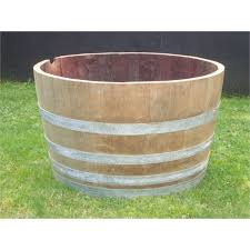 half wooden wine barrel 45cm oak bunnings warehouse