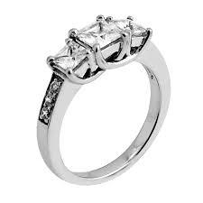 trellis three stone ring pave set square stones fine jewelry