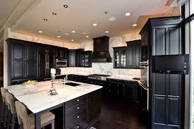 black cabinet kitchen ideas wood dark floor fancy home design