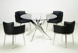 Round Glass Table Tops by Modern Dining Set With Round Glass Dining Table Top And Chairs