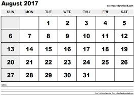 august 2017 calendar printable template with holidays pdf usa uk