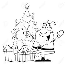 black and white coloring page outline of santa drinking champagne
