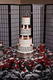 red black white wedding wedding cake each tier had four layers