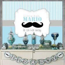 little man mustache blue gray baby shower 1st birthday