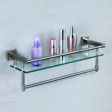 Bathroom Glass Shelves With Towel Bar A2225 2 Sus304 Stainless Steel Bathroom Glass Shelf Wall Mount